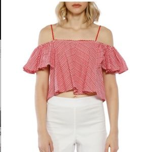 Walter Baker Riley Cold Shoulder Gingham crop top